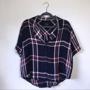Rails Navy Red Hunter Plaid Button Down Blouse, M